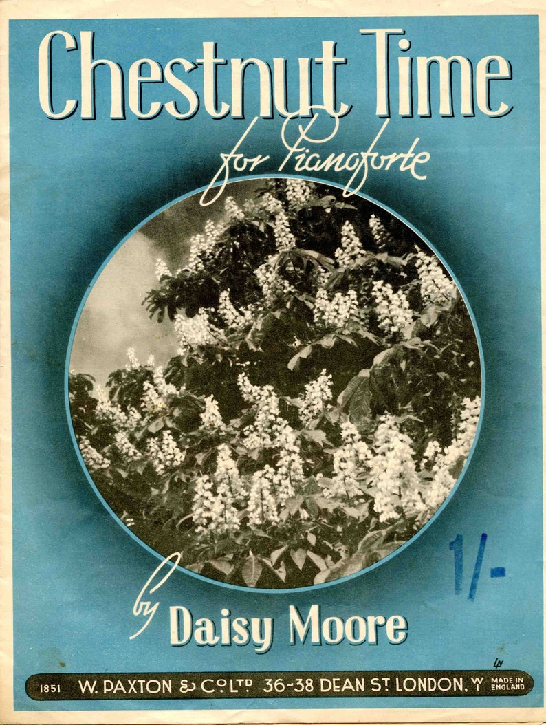 Chestnut Time Sheet Music by Daisey Moore Piano Vintage 1923 image 0