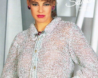 Lady's Cardigan with Frill Collar and Tie Neck - Size 66 to 97 cm (26 to 38 inches) - Sunbeam 912 - Vintage Knitting Pattern