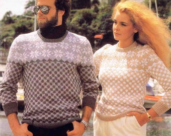 Lady's Man's Round Crew Neck Sweater Pullover Jumper Size 81-107 cm 32-42 inch Lister Lee Natural Look DK  1534 Vintage Knitting Pattern