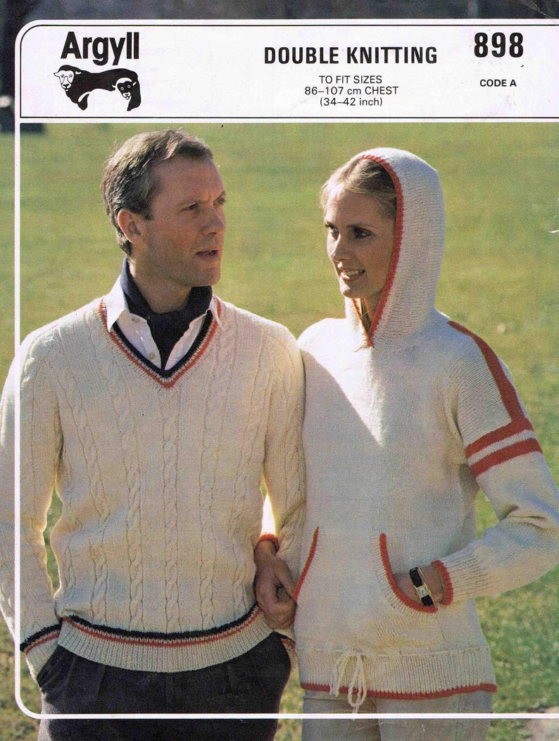 da1eba2ff1 PDF - Adult's Cricket Sweater and Hooded Sweater Pullover Jumper - Argyll  Double Knitting 898 - Vintage Knitting Pattern