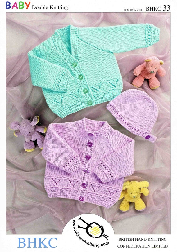 4dac2596f PDF Baby s Cardigan Jacket and Hat BHKC Double