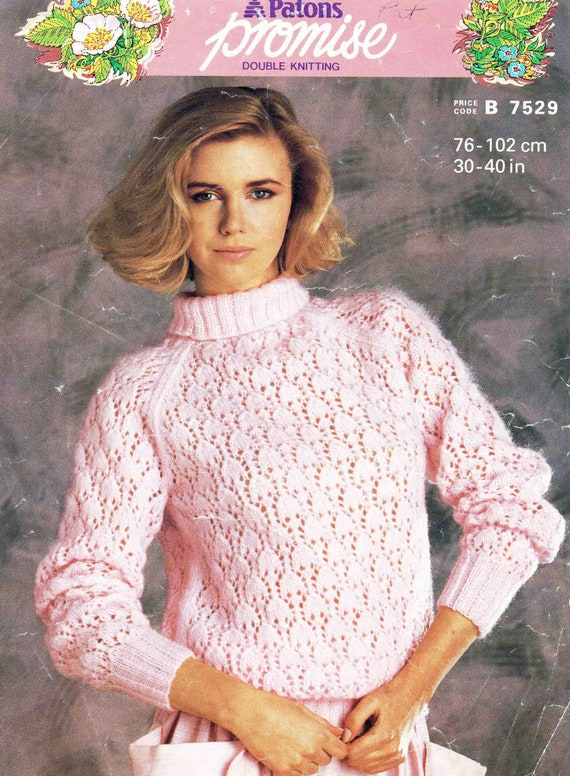 Pullover 30-40 inch. Lady/'s sweater knitting pattern in DK Jumper