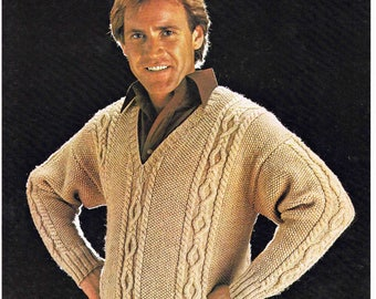 PDF - Man V Neck Sweater Pullover Jumper - Size 97 to 112 cm (38 to 44 inches) - Lister Lee Double Knitting K1334 - Vintage Knitting Pattern