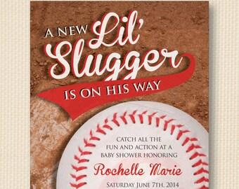 Lil' Slugger Vintage Baseball Baby Shower Invite - 5x7