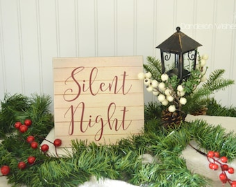 silent night pallet look 8x8 christmas wooden sign rustic christmas decor farmhouse decor country decor christmas decoration - Etsy Christmas Decorations