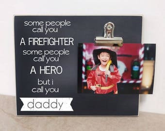 4cdfcd3cb Firefighter Photo Frame, Father's Day Gift For Firefighter, Fireman Dad  Picture Frame, Custom Firefighter Gift, Birthday Gift For Dad