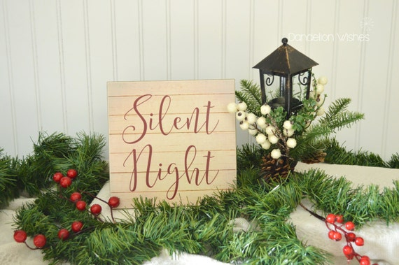 Silent Night Pallet Look 8x8 Christmas Wooden Sign Rustic | Etsy