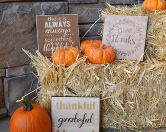 Thanksgiving Decoration Signs, Thanksgiving Table Decor, Thanksgiving Centerpiece Idea, Fall Decor, Thanksgiving Favors, SET OF 3 - 6x6 inch