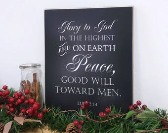 Glory To God Christmas Decoration Nativity Set Sign, Luke 2 Wooden Sign, Christian Christmas Decor, Table Decor, Christmas Centerpiece 11x14