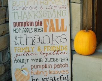 Thanksgiving Decor, Fall Home Decor, Thanksgiving Decoration, Thanksgiving Gift, Hostess Gift, Fall Decor, Fall Wall Art, 12x18 Wooden Sign