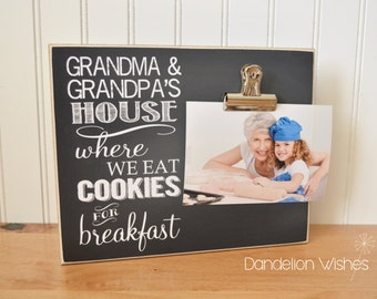 Grandparent Picture Frame, Grandchildren Photo Frame, Gift For Grandparents {Grandma and Grandpa's House} Personalized Frame, Valentines Day