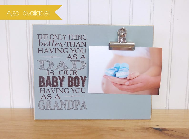 Gender Reveal Idea Gift For Grandma BABY BOY Baby Announcement  {Only Thing Better.. Pregnancy Announcement Frame Baby Boy}  Photo Frame