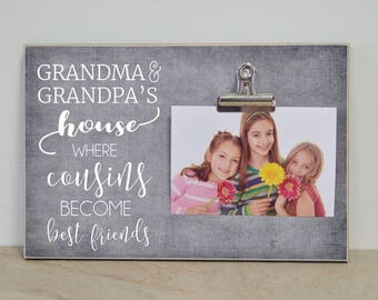 Grandparent Frame, Grandchildren Photo Frame, Gift For Grandparents  {...Cousins Become Best Friends}  Christmas Gift Idea, Custom Frame