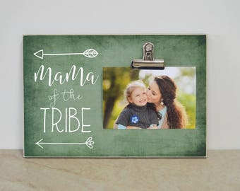 Picture Frame Gift for Mom {Mama Of The Tribe} Personalized Photo Frame Mother's Day Gift, Gift For Mom's Birthday, Tribal Decor, Wood Frame