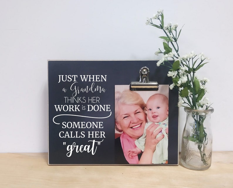 Grandma Photo Frame Gift For Great Birthday Baby Reveal To Grandparents Mothers Day