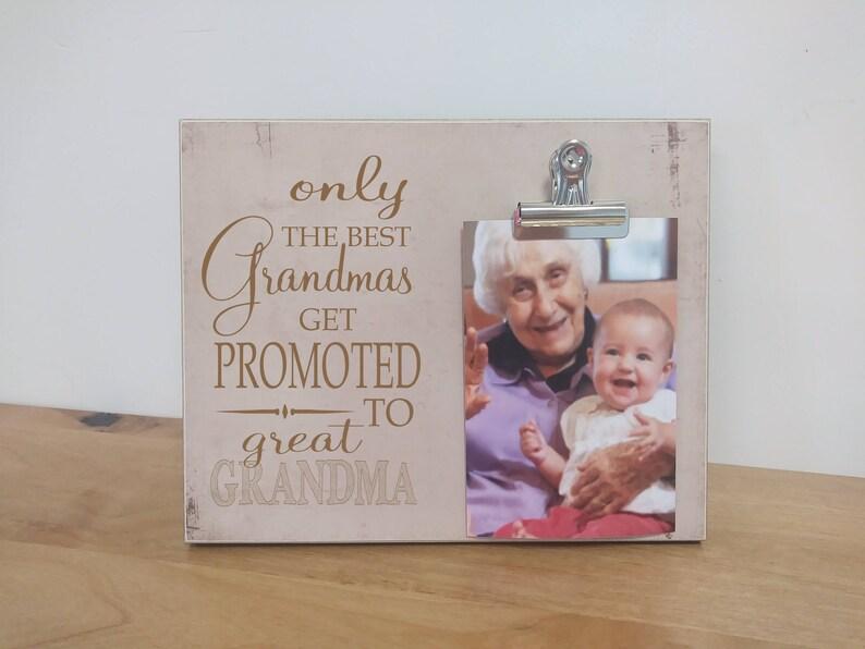 Pregnancy Reveal to Grandma  {Best Grandmas Get Promoted to Great Grandma}  Grandparent Pregnancy Announcement Gift For Grandma