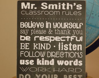 Teacher Appreciation Gift - Classroom Rules Wooden Sign, Chalkboard Look Sign - Personalized Gift For Teachers, Classroom Decoration, 11x14