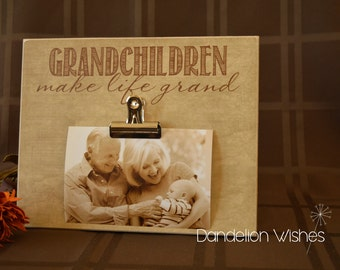 Grandparents Picture Frame, Grandchildren Photo Frame {Grandchildren Make Life Grand} Wood Frame, Custom Gift For Grandparents Day, 8x10