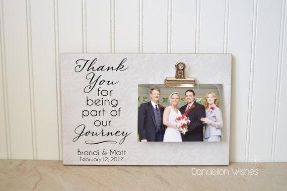 Merci cadeau, cadeau de mariage pour les Parents, mère de la mariée cadeau, cadre Photo personnalisé, personnalisable cadre photo {partie de notre voyage}