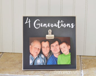 FOUR Generations Picture Frame - 8x8 Photo Frame, Four Generations Frame, 4 Generations Photo Frame, Gift For Grandpa, Gift for Dad