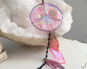 Sun Catcher, Hanging Ornament, Peace Sign, Dream Catcher, Wall Hanging, Home Decoration, Unique Gift, Fairy Wings, Black and Hot Pink