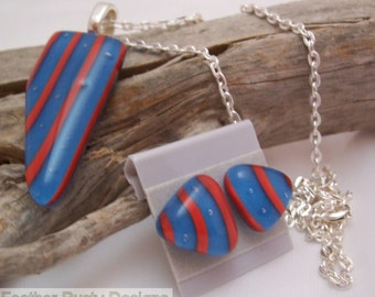 Orange and Blue Striped Necklace and Earring Set
