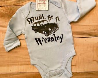 "HarryPotter Inspired ""Must Be A Weasley"" Baby blue long sleeved onesie"