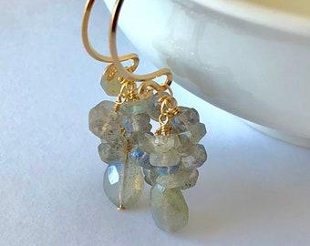 Labradorite Earrings, 12k Gold Earrings, Gold and Gemstone Earrings