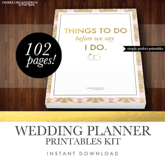 wedding planner kit pdf digital printables for planning etsy