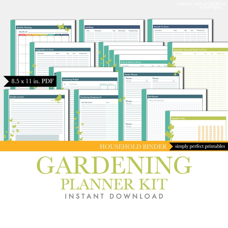 picture regarding Printable Garden Journal referred to as Gardening Planner Mounted - Backyard garden Magazine - Printable Package - PDF - for Loved ones Binder