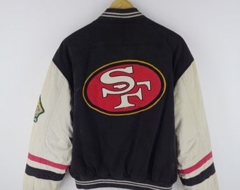 073abcd5993 49ers Jacket Distressed Vintage 49ers Varsity Jacket San Francisco 49ers SF  By Mirage Vintage NFL Classic Team Collection Mens Size M