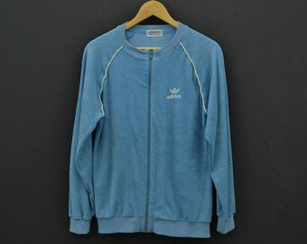 5b3e013b252f Adidas Jacket Vintage Adidas Terry Cloth Sweater Jacket 80s 90s Adidas  Vintage Sweat Size S M