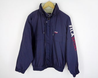 5dfdb910616 Fila Windbreaker Vintage Fila Jacket Vintage Fila Sport Spell Out Vintage  Navy Blue Zipper Button Jacket Mens Size L