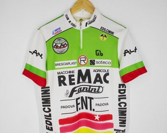 Murella Fanini Cycling Jersey Vintage 80 s Murella Fanini Edilcimini Alan  Jersey Murella Fanini Vintage Cycle Jersey Made in Italy Size 6(L) 12f5014d0