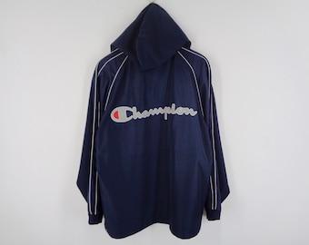 1768667f19f41 Champion Windbreaker Distressed Vintage Champion Jacket Vintage Champion  Spell Out Nylon Jacket Size M