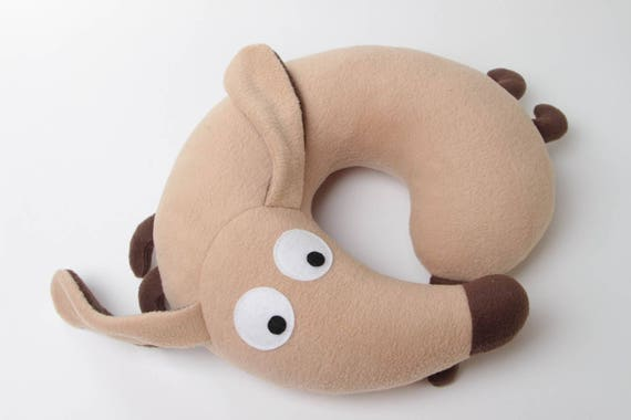 Dachshund travel pillow for kids and adults - Dog stuffed toy - Animal kid room decoration - Dog lover gift for friend. Click for more info!