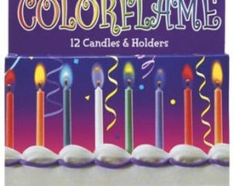 12 count Colorflame Color Flame Candles Birthday Candle cake topper