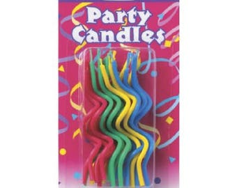 20 piece Asst Colored Twists Birthday Candles cake topper