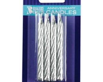 8 count Silver Anniversary Candles Birthday Candle cake topper