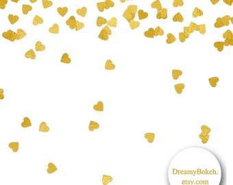 Gold Foil Hearts Confetti Digital Paper Frames Borders 12x12 Inch Jpg Png Overlay Instant Download Wedding Invitation Clipart
