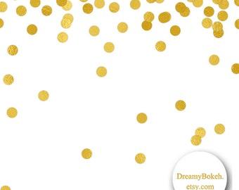 Gold Foil Confetti Digital Paper Frames Borders Small Circles 12x12 Inch Jpg Png Instant Download Wedding Invitation Clipart
