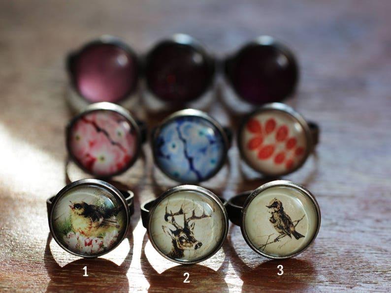 jewelry gift for her flowers deer bird leaves glitter sparkle ring small boho ring