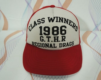 880ed5e89d7 Vintage1986 Class Winners Rigional Drag G.T.H.R Trucker Snapback Cap Hat   vintage  toyota cap   vintage drag cap   drag hat