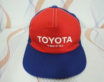 4616409357b Vintage 80s 90s Toyota Tecno Adjustable Cap Hat   vintage toyota cap   toyota  hat   racing cap   racing hat   toyota racing