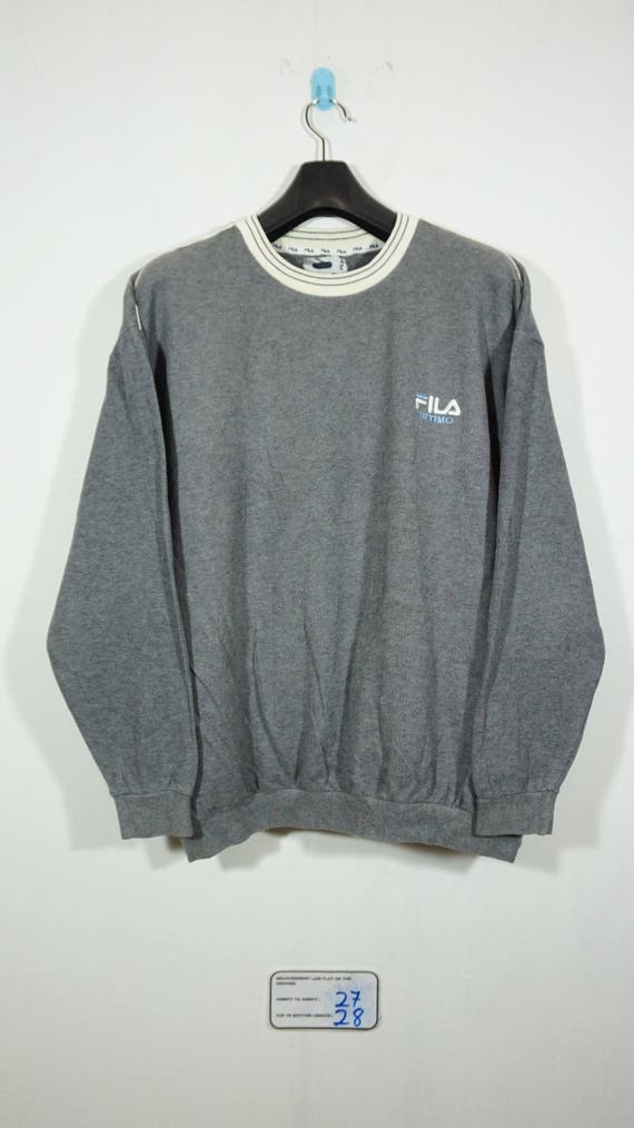 195d539d290ae Vintage Fila Embroidered Logo Gray Sweater Sweatshirt Size | Etsy