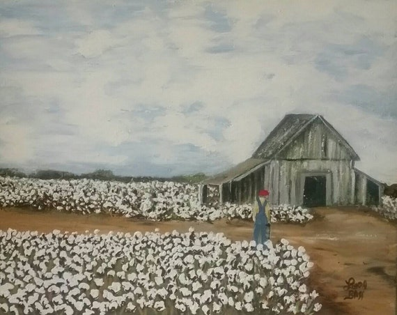 Old Barn And Cotton Field Original Painting 16x20 Canvas