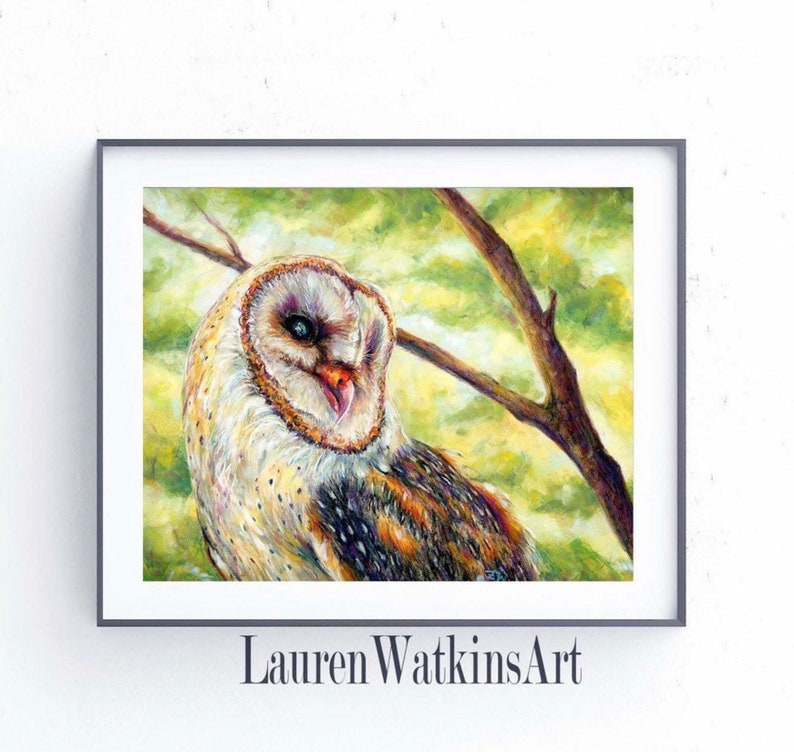 Original soft pastel drawing Owl in a Tree Realistic drawing Pastel Painting of a Barn Owl