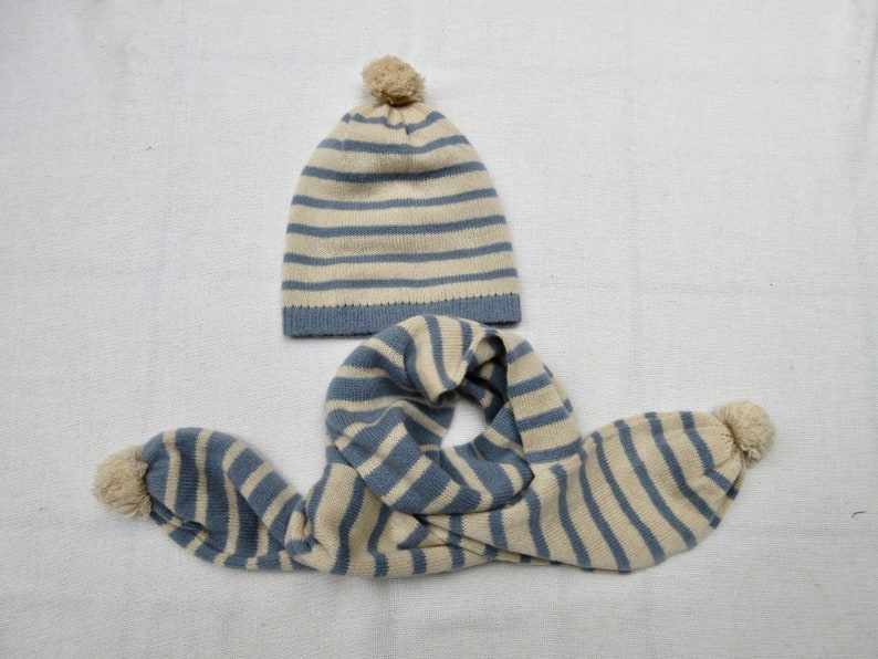 Revertible 100% Cashmere Beanie Hat and Scarf  Blue Beige image 0