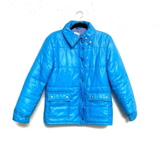Vtg 80s NYLON Puffer Coat Jacket Blue Sz M