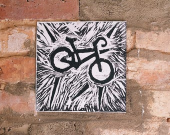 Simple, Graphic Bike Relief Print